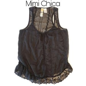 3/$25 🥂  Mimi Chica Sheer Black Tank with Lace